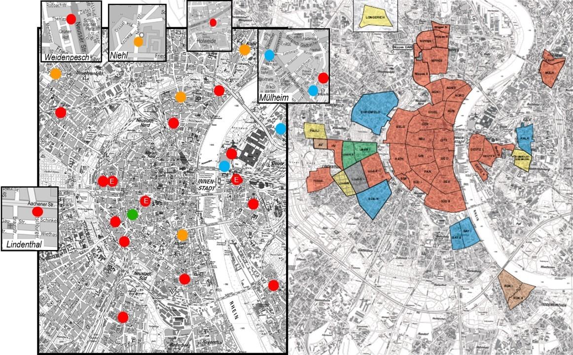CarSharing-Stationen und Bewohnerparkzonen (in Betrieb und geplant) im Kölner Stadtgebiet (Quelle: Klaus Harzendorf, Stadt Köln)