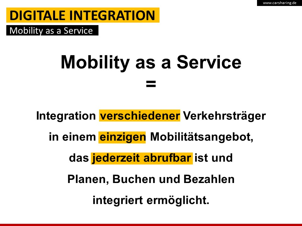 "Definition ""Mobility as a Service"" (Quelle: bcs)"