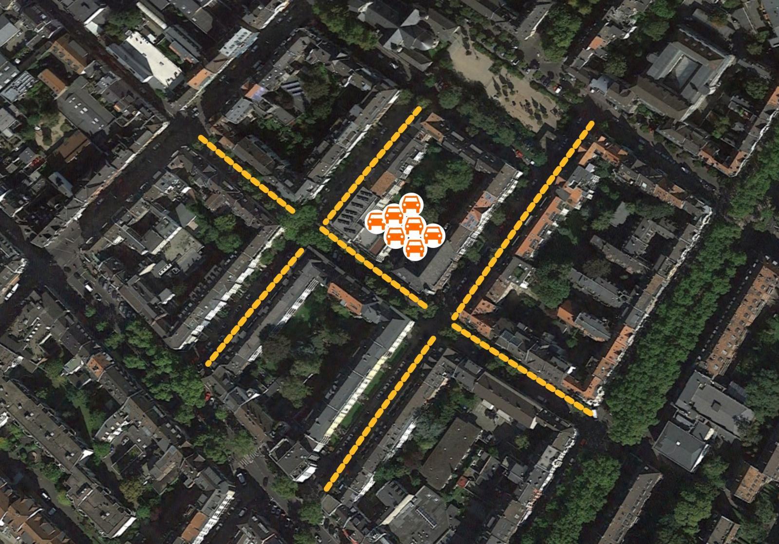 Köln-Sülz: Frei gewordene Parkfläche (gelb markiert), die durch eine CarSharing-Station mit 7 Fahrzeugen frei wird (Bild: bcs)