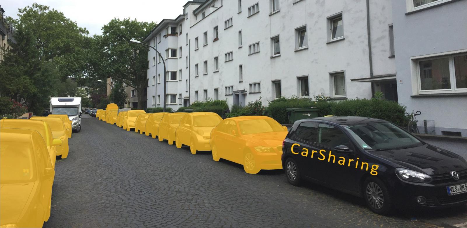 Ein CarSharing-Fahrzeug ersetzt 20 Pkw, Beispiel Köln (Bild: bcs)