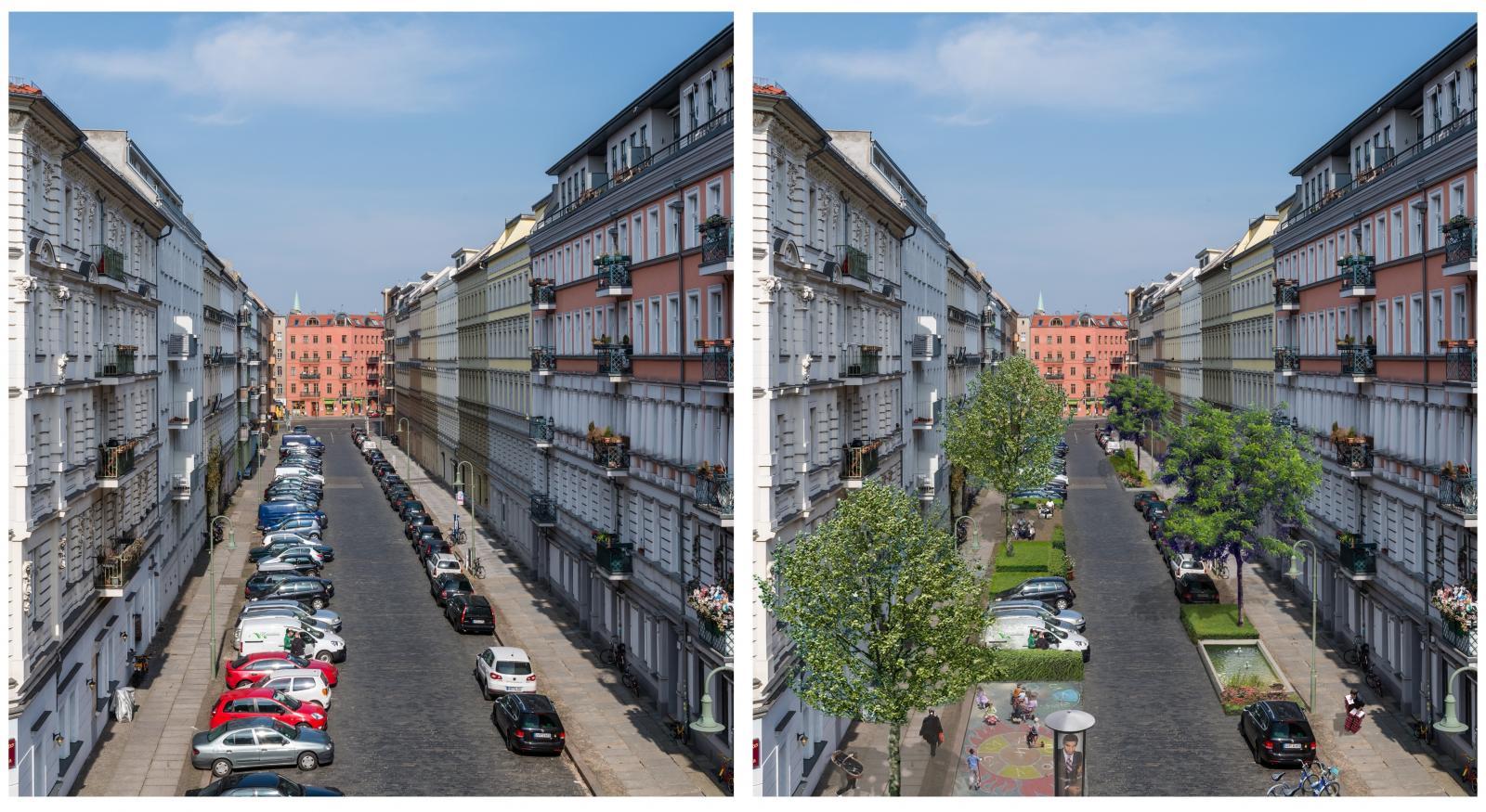 Der Effekt des CarSharing: Mehr Aufenthaltsqualität in Straßen und Wohnquartieren (Bild: bcs)